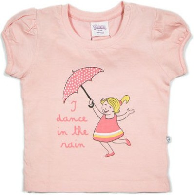 Solittle Printed Baby Girl,s Round Neck Pink T-Shirt