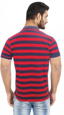 Hoodz Striped Men's Polo Neck Red T-Shirt