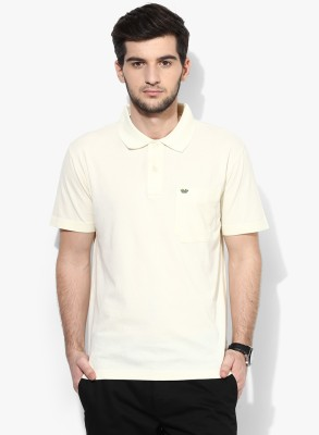 UV&W Solid Men's Polo Neck Beige T-Shirt