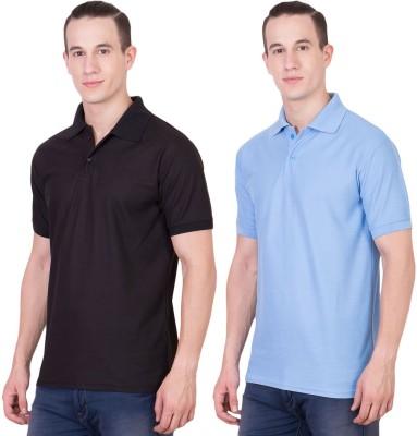Randier Solid Men's Polo Neck Black, Blue T-Shirt