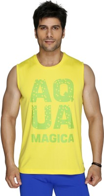 Aquamagica Printed Men's Round Neck Yellow T-Shirt