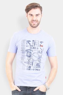 Crocodile Printed Men's Polo Blue T-Shirt
