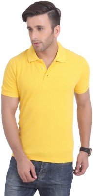 DoubleF Solid Men's Polo Neck Yellow T-Shirt