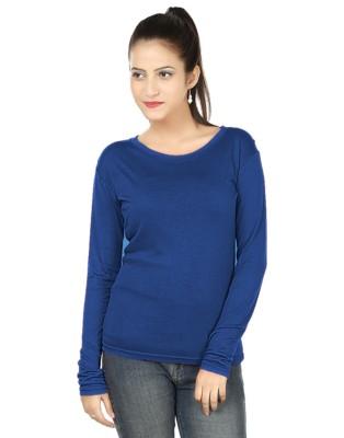 Subu Solid Women's Round Neck Blue T-Shirt