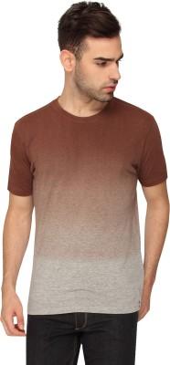Crocodile Solid Men,s Round Neck Brown T-Shirt