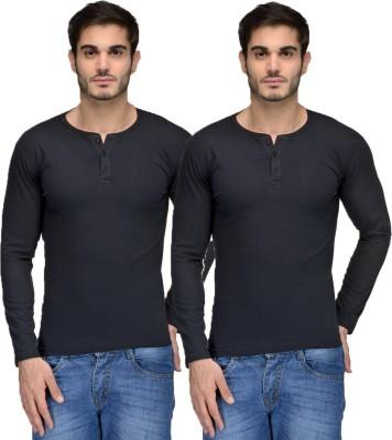 Feed Up Solid Men's Henley Black, Black T-Shirt