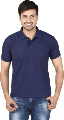 9 Horses Solid Men's Polo Neck Blue T-Shirt