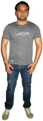 ORKO Solid Men's Round Neck Grey T-Shirt