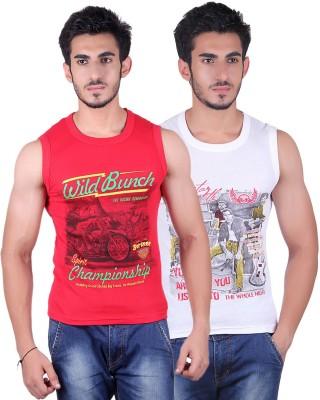 White Moon Printed Men's Round Neck Red, White T-Shirt