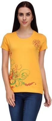 Aspasia Printed Women's Round Neck Yellow T-Shirt