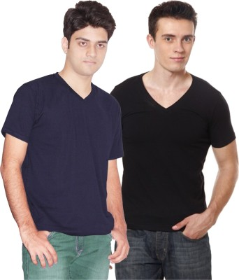 Xarans Solid Men's V-neck Blue, Black T-Shirt