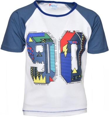 PEPITO Printed Boy's Round Neck White T-Shirt