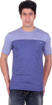 Montreal Solid Men,s Round Neck Blue T-Shirt