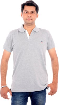 Wells Smith Solid Men,s Polo Grey T-Shirt