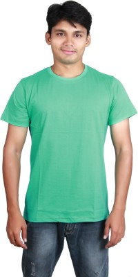 Megsto Solid Men's Round Neck Green T-Shirt