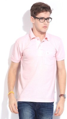 Happy Hours Solid Men's Polo Neck Pink T-Shirt