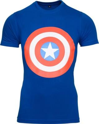 SnowFox Printed Men's Round Neck Dark Blue T-Shirt