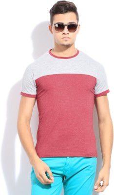Peter England Solid Men's Round Neck Pink T-Shirt