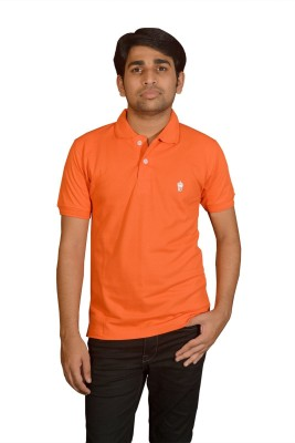 Friends United Solid Men's Polo Neck Orange T-Shirt