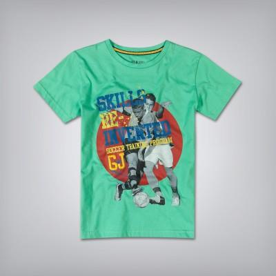 Gini & Jony Printed Boy's Round Neck Green T-Shirt