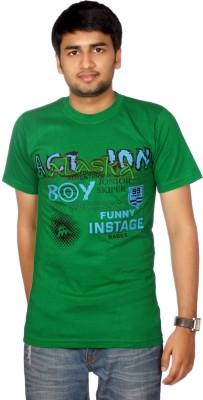 AADUKI Printed Men's Round Neck Green T-Shirt
