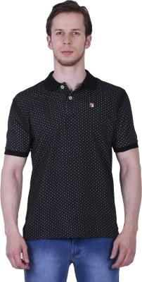 Duke Stardust Printed Men's Polo Neck Black T-Shirt