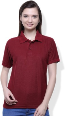 GOINDIASTORE Solid Women's Polo Maroon T-Shirt