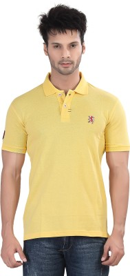 Purple Haze Solid Men's Polo Neck Yellow T-Shirt