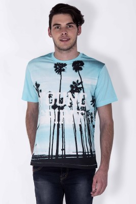 Sera Printed Men,s Round Neck Light Blue T-Shirt