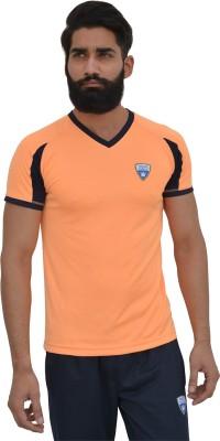 Color Castle Solid Men's V-neck Orange T-Shirt