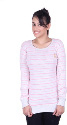 Oner Party, Casual, Sports, Festive Full Sleeve Solid, Striped Women's Grey, Pink Top