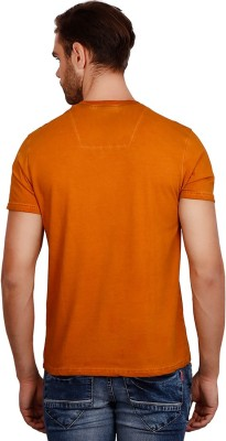Volume Zero Printed Men's V-neck Orange T-Shirt