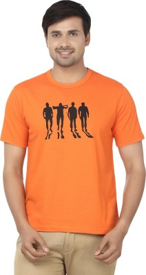 Ruse Printed Men's Round Neck Orange T-Shirt