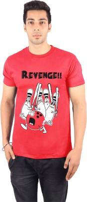 Enquotism Printed Men's Round Neck Red T-Shirt