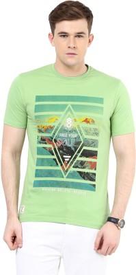 Ziera Printed Men's Round Neck Green T-Shirt