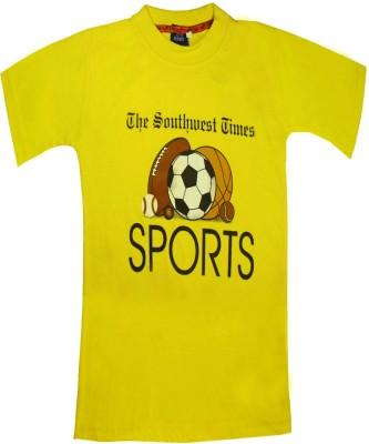 Sweet Angel Printed Girl's Round Neck Yellow T-Shirt
