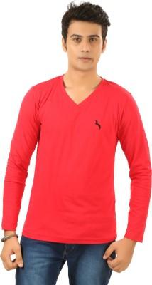 BrownBird Solid Men's V-neck Red T-Shirt