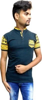 Indiano Printed Men,s Mandarin Collar Black T-Shirt