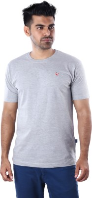 Mrtees Solid Men's Round Neck Grey T-Shirt