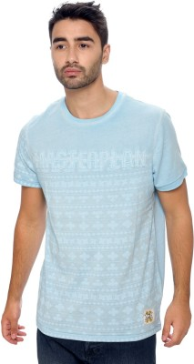 Be Pure Printed Men's Round Neck Light Blue T-Shirt