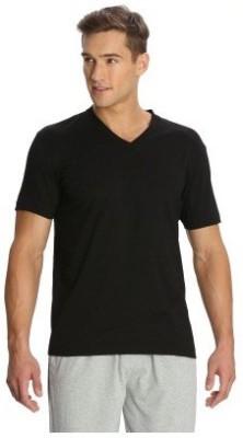 Bright deals Solid Men's V-neck Black T-Shirt