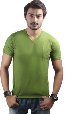 Spur Solid Men's V-neck Green T-Shirt