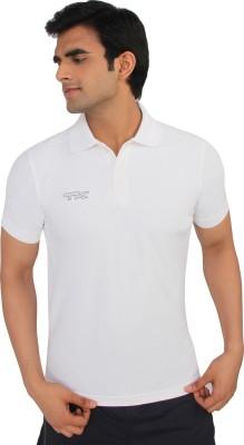TK Solid Men's Polo Neck White T-Shirt
