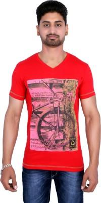 Duke Stardust Printed Men's V-neck Red T-Shirt