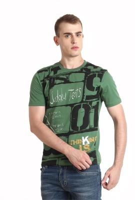 Teen Tees Printed Men,s Round Neck Dark Green T-Shirt