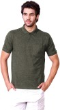 D-Green Solid Men's Polo Neck Black T-Sh...