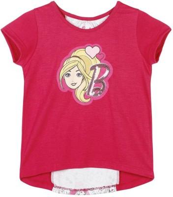 Barbie Graphic Print Baby Girl's Round Neck Pink T-Shirt