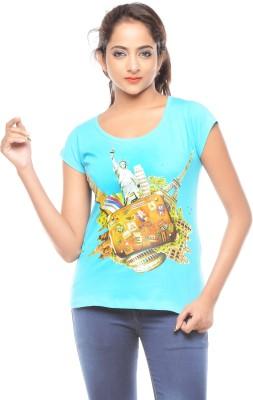 Trendy Girlz Printed Women's Round Neck Blue T-Shirt