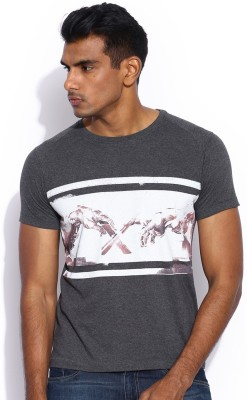 HRX Printed Men's Round Neck Grey T-Shirt