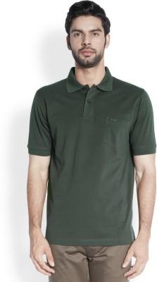 ColorPlus Solid Men's Polo Neck Dark Green T-Shirt